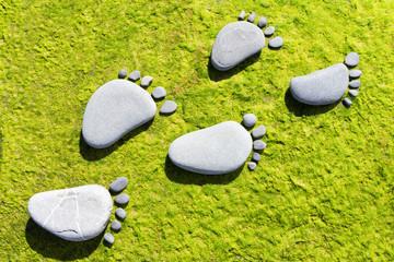 Stone footprints on green