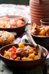 Hungarian Cholent Slow Cooker Beef-Stew.rustic style.