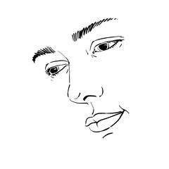 Hand-drawn portrait of white-skin sorrowful woman, sad face emotions theme illustration. Beautiful melancholic lady posing on white background, face features.