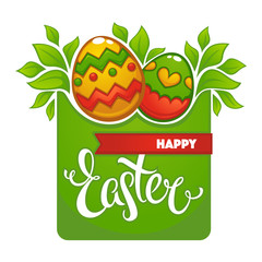 happy easter glossy banner