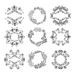 A large set of circular design elements.