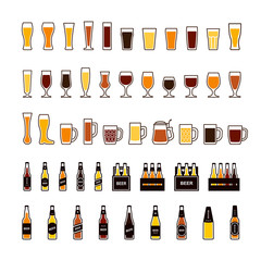 Beer color icons set, glasses and bottles. Vector