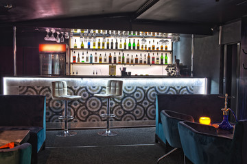 The bar in the interior of the restaurant
