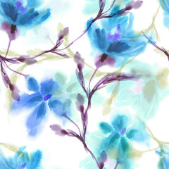 Watercolor FlowersSeamless Pattern. Hand Painted Background.