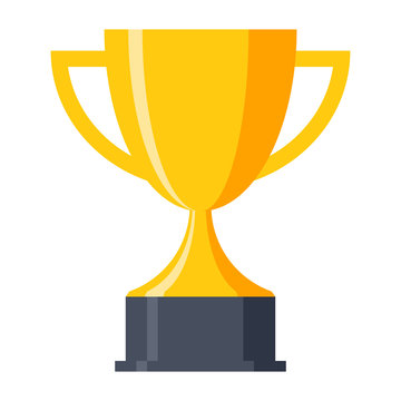 Trophy cup, award, vector icon in flat style