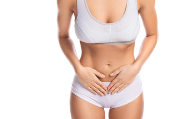 Woman is feeling pain in lower part of her stomach