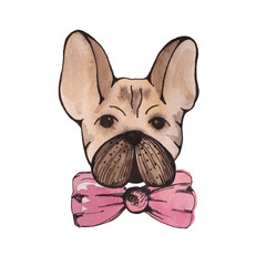 Stylised watercolor portrait french bulldog with pink bow on nec