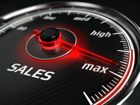 Great Sales - sales speedometer with needle points to the maximum. 3d rendering