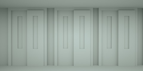 Abstract light space with doors, 3 d render