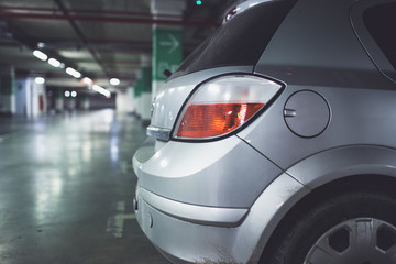 Underground parking with cars.