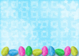 Pastel background with eggs to celebrate Easter