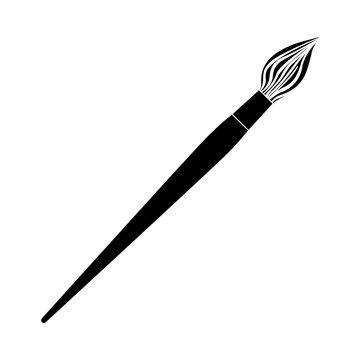 black contour paint brush icon, vector illustraction design image