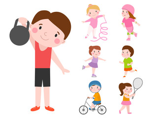 Young kids sportsmens future roller skates gymnastics isolated on white and children young winners after sport school team players vector illustration.