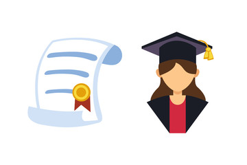 Graduation woman silhouette uniform avatar vector illustration. Student education college success character with diploma gown flat achievement. Certificate knowledge person.
