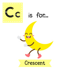Letter C cute children colorful geometric shapes alphabet tracing flashcard of Crescent for kids learning English vocabulary.