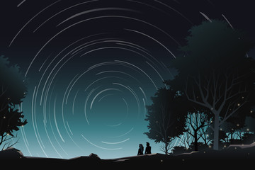 couple watch star rotation in forest