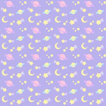 ファンシーでかわいい流れ星・宇宙柄シームレスパターン 背景・テクスチャー 紫系 ベクター