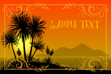 Exotic Landscape, Tropical Palms Trees and Yucca Flowers Silhouettes, Sun and Gold Frame with Floral Pattern on a Background of the Morning Sea and Mountains. Eps10, Contains Transparencies. Vector