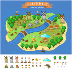 Island Map With Elements Set