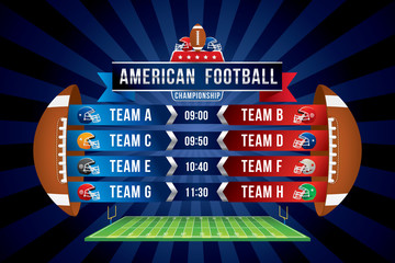 Vector of American football team with scoreboard on green field background.
