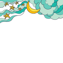 Moon, clouds and stars on a white background.  Place for text. Vector illustration