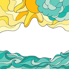 Sea waves background with sun and clouds. Vector illustration of sea landscape.  Place for text. Vector illustration