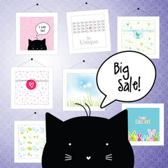 Big spring sale. Greeting cards. Background template. Design elements. Pictures. Gallery.