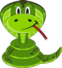 Cute Cartoon Cobra Snake