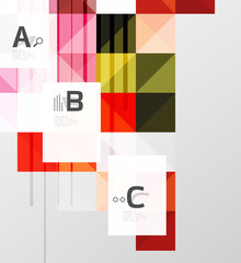 Vector square elements on gray abstract background with infographics