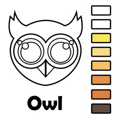 Coloring book for little kids with animals - an owl. Using the color palette, ready for use when drawing.