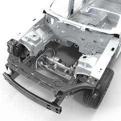 Skeleton of a car with Chassis on white. 3D illustration
