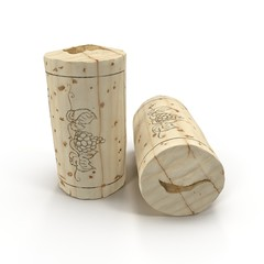 Used Wine Cork on white. 3D illustration