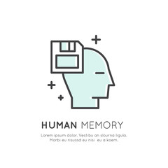 Vector Icon Style Illustration of Memory, Saving, Machine Learning, Artificial Technology Concept, Isolated Simple Template