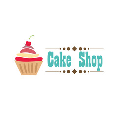 Cake Shop logo design vector template