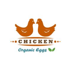 Farm fresh Organic Eggs logo design vector template