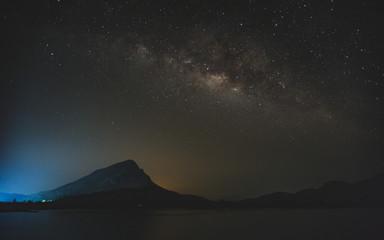 Milky way above reservoir