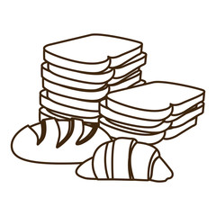 silhouette stack slices bread and croissant vector illustration