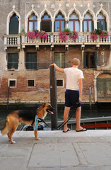 Boy with dog, Venice, Italy