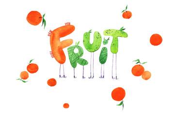 watercolor logo fruit