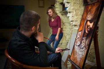 Art class in art studio