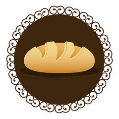 decorative frame with realistic picture homemade bread food icon vector illustration