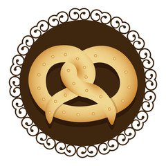 decorative frame with realistic picture pretzel baked product food icon vector illustration