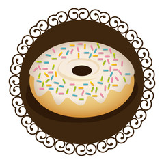 decorative frame with realistic picture donut with strawberry glazed and colored sparks vector illustration