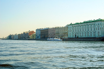 Saint-Petersburg, Russia - May 13, 2006: Hermitage palace and Neva river