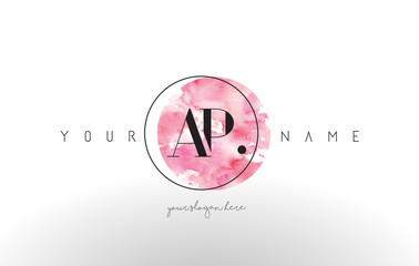 AP Letter Logo Design with Watercolor Circular Brush Stroke.