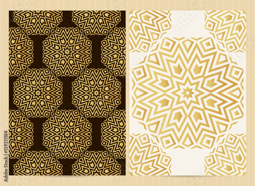 Islamic Book Cover Design Vector ~ Quot a format cards decorated with mandala in golden colors