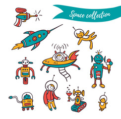 Vector space elements - funny ufo, robots and space rockets . Colorful set isolated on the white background.