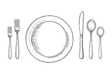 Plate knife fork and spoon sketch. cutlery set Vintage vector illustration