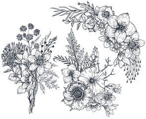 Set of Floral compositions. Bouquets with flowers and plants.