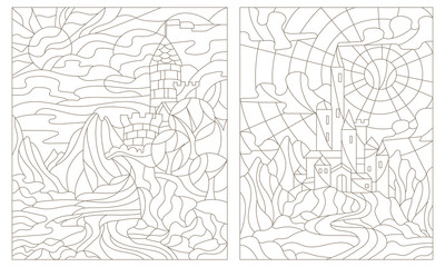 Set contour illustration of stained glass of landscapes with ancient castles